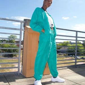 90s Vintage Silk Windbreaker Jogger Pants Set Sz M